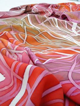 Tussock (large shawl): crêpe de Chine; 2005