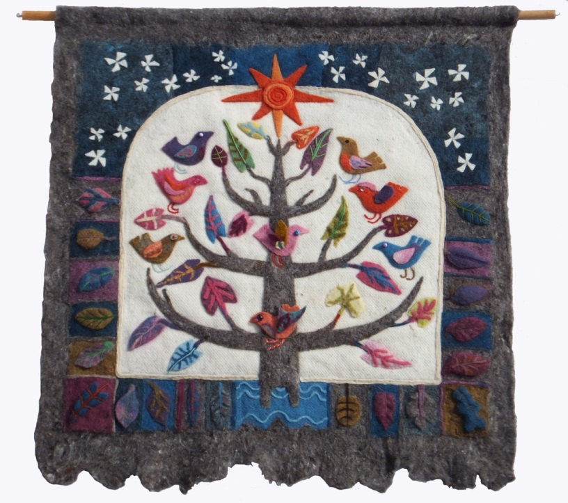 Felt hanging: local community project using natural-dyed and self-coloured felt designed and led by Isabella Whitworth