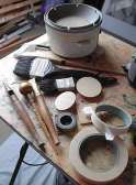 Tjantings, brushes, stamps and other materials for wax resist