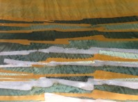 Work in progress showing wax over white areas; gold areas are Himalayan Rhubarb;greens are created by dilutions of Saxon Blue