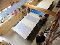 Looking down on the print table