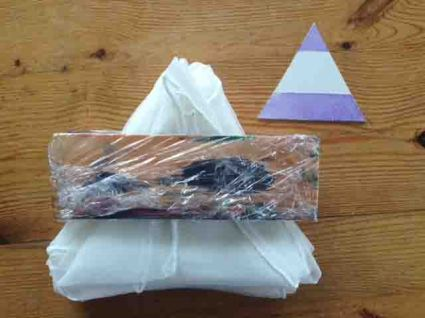 Individual equilateral unit with the real block and fabric