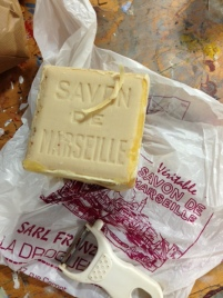 Savon de Marseille used to scour silk fabric
