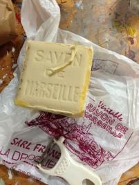Savon de Marseille used to scour silk fabric