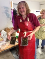 Tutor Debbie Bamford with her stash of sheep poo