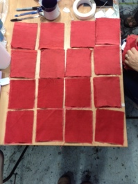 Various shades of colour achieved during creation of Turkey Red