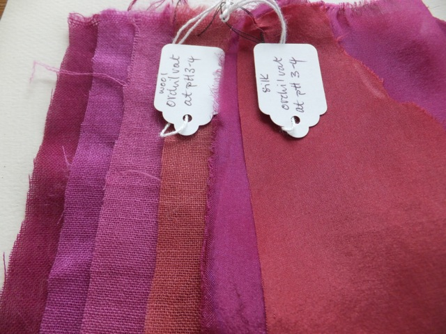 Orchil dyed silk and wool samples