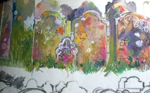 Canterbury graveyard, 1960s sketchbook