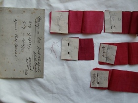 Silk dyed with orchil: a particularly red shade