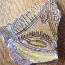 Sgraffito sherd found in garden