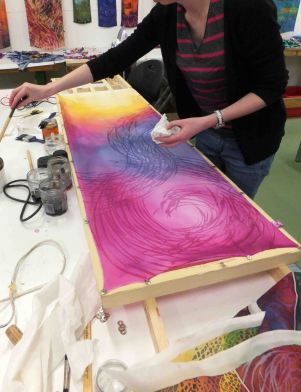 Student's work, showing colour shift of under-dye from pink to yellow.