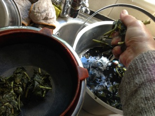 Leaves are sieved and squeezed out