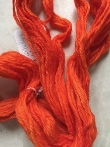 Yarn dyed with Indian Madder at Carmarthen. Colour has been adjusted via an editing programme