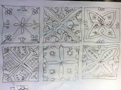 Sketches of painted tile patterns, Bubión