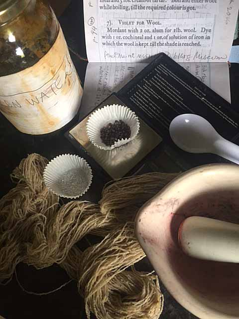 Materials and some equipment for dyeing cochineal