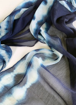 Indigo dyed; tied stripe