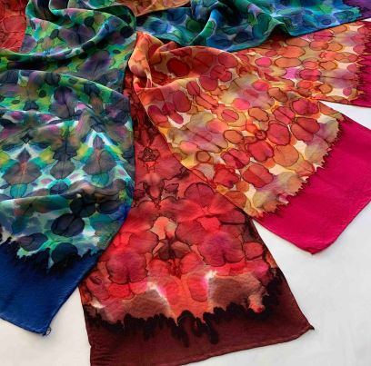 Group of scarves in Kaleidoscope design. Multiple fold shibori; dipped ends. 2019
